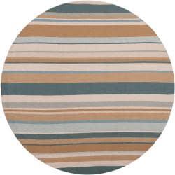 Hand-hooked Grey Rancie Indoor/Outdoor Stripe Rug (8' Round)