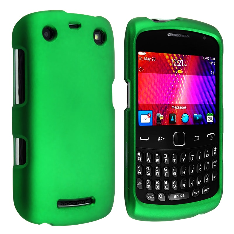 INSTEN Green Rubber Coated Phone Case Cover for Blackberry Curve 9350/ 9360/ 9370