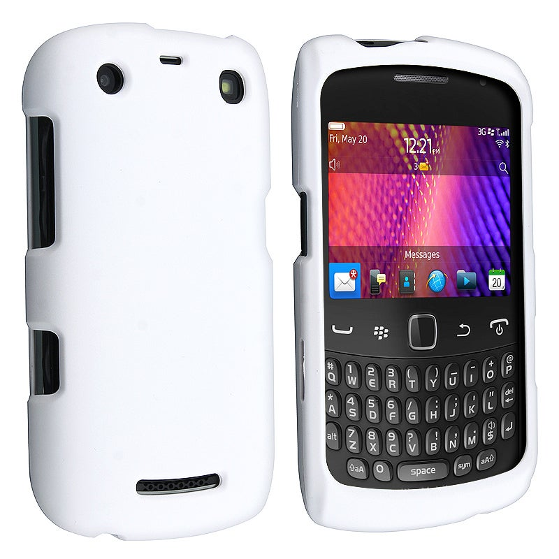 INSTEN White Rubber Coated Phone Case Cover for Blackberry Curve 9350/ 9360/ 9370