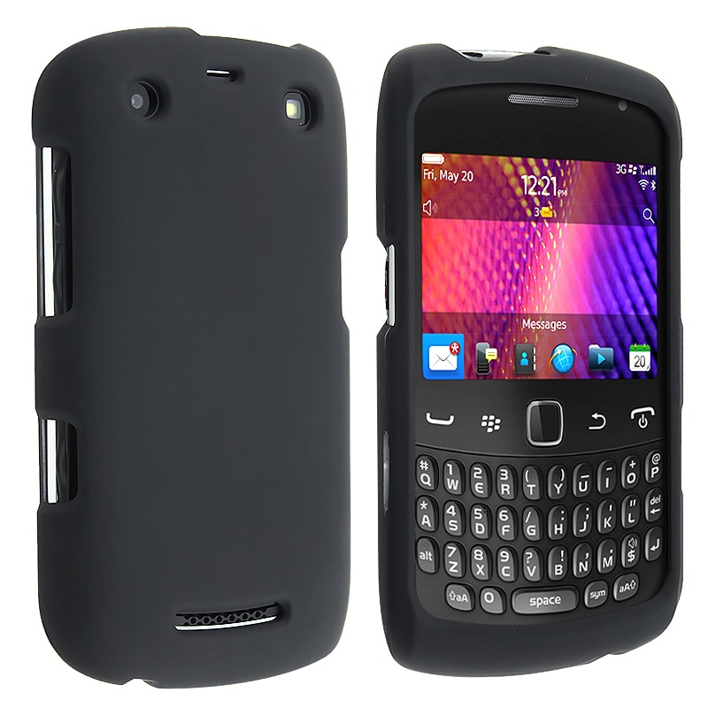 INSTEN Black Rubber Coated Phone Case Cover for Blackberry Curve 9350/ 9360/ 9370
