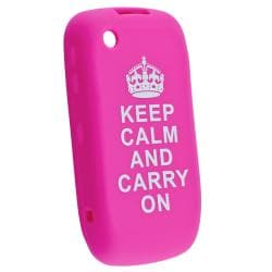 Hot Pink with Quote Silicone Skin Case for BlackBerry Curve 8520/ 9300 - Thumbnail 1