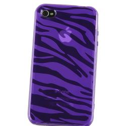 INSTEN Purple Zebra TPU Rubber Skin Phone Case Cover for Apple iPhone 4/ 4S