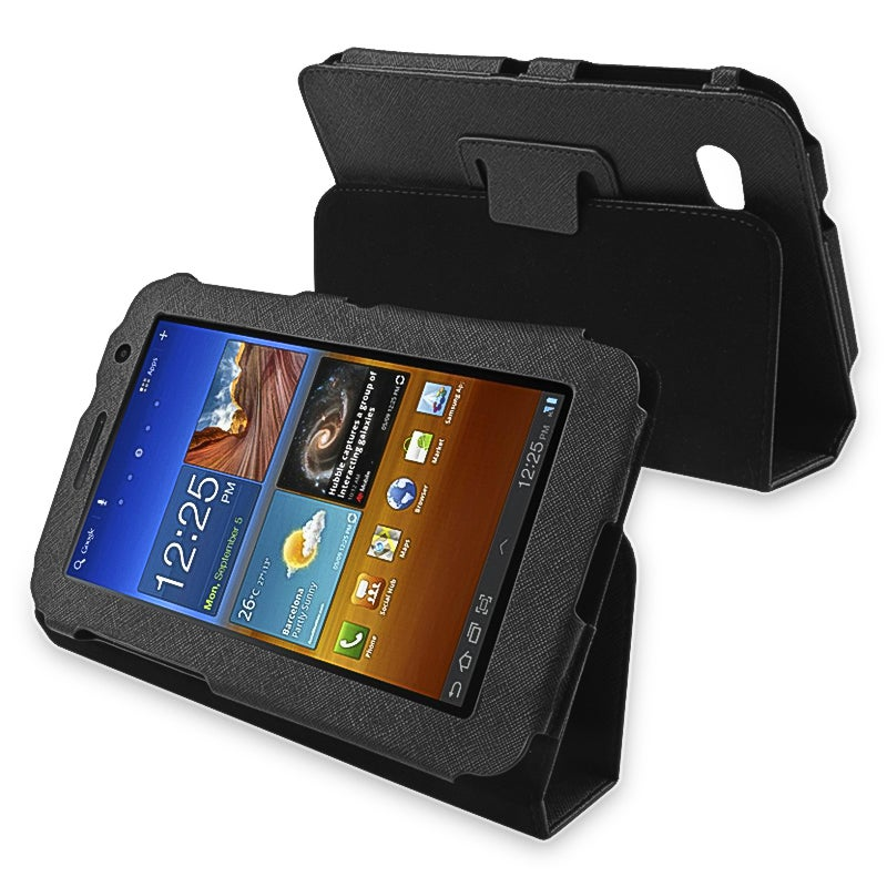 Black Protective Leather Case and Stand for Samsung Galaxy Tab 7.0