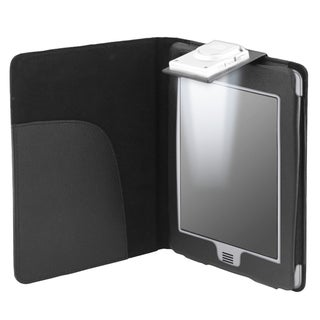 Black Leather Case with Light for Amazon Kindle Touch