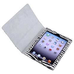 Black/ White Zebra Leather Case with Stand for Apple iPad 3