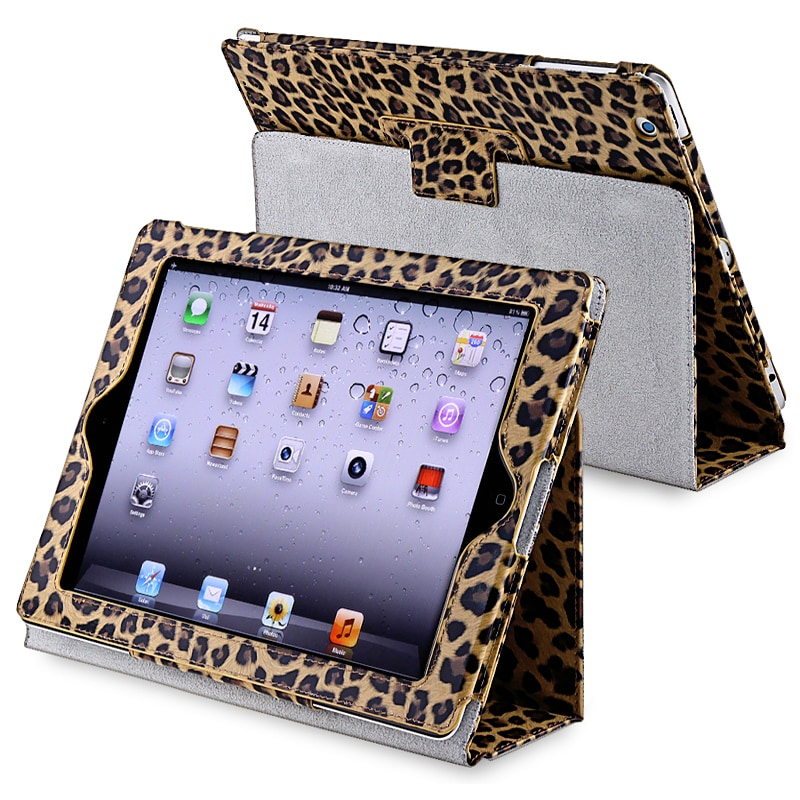 INSTEN Yellow Leopard Leather Tablet Case Cover with Stand for Apple iPad 3/ 4