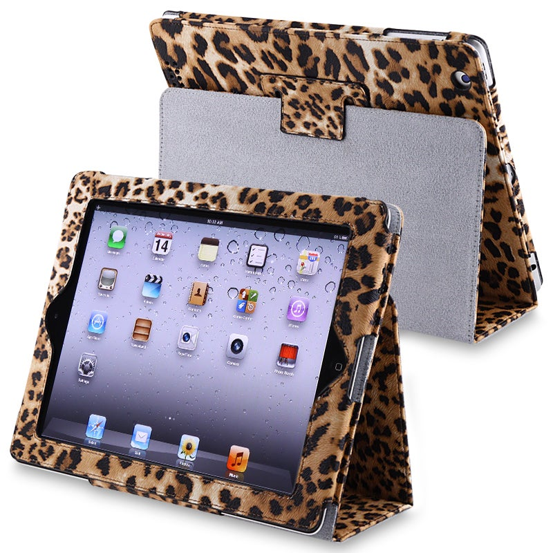 INSTEN Black/ Brown Leopard Leather Tablet Case Cover with Stand for Apple iPad 3