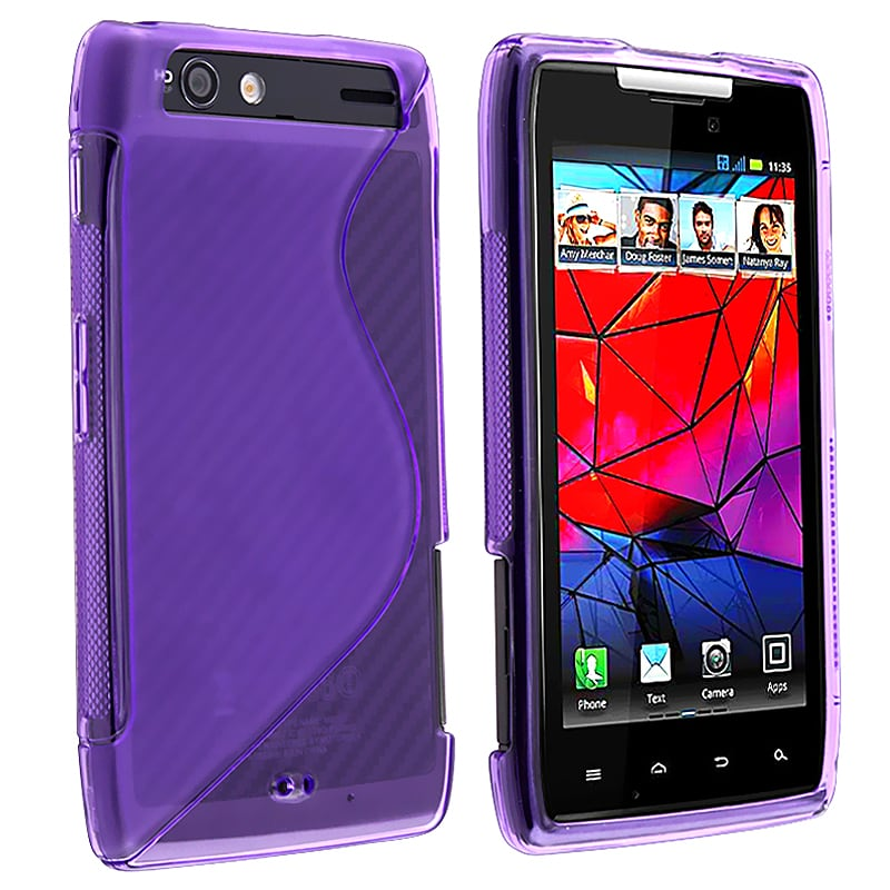 Clear Purple S Shape TPU Rubber Skin Case for Motorola Droid RAZR