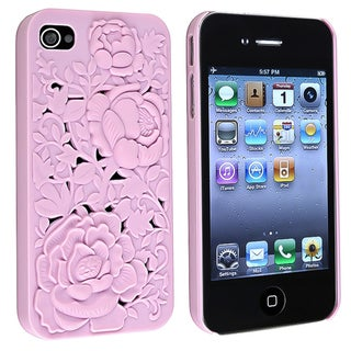 INSTEN Light Pink 3D Sculpture Rose Rear Snap-on Phone Case Cover for Apple iPhone 4/ 4S