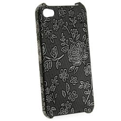Black Embossed Flower Rear Snap-on Case for Apple iPhone 4/ 4S - Thumbnail 1