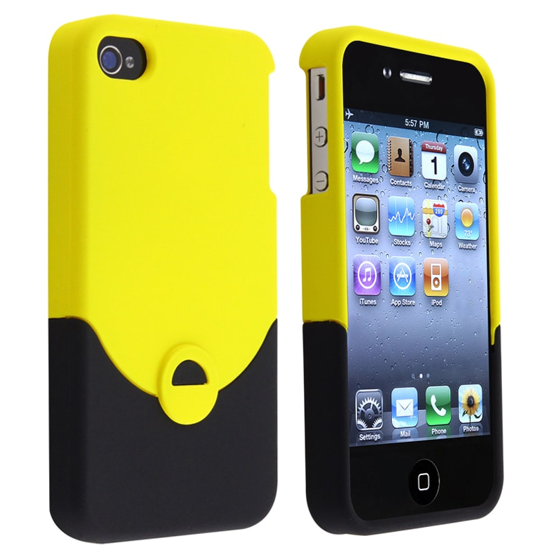 Yellow/ Black Snap-on Rubber Coated Case for Apple iPhone 4/ 4S