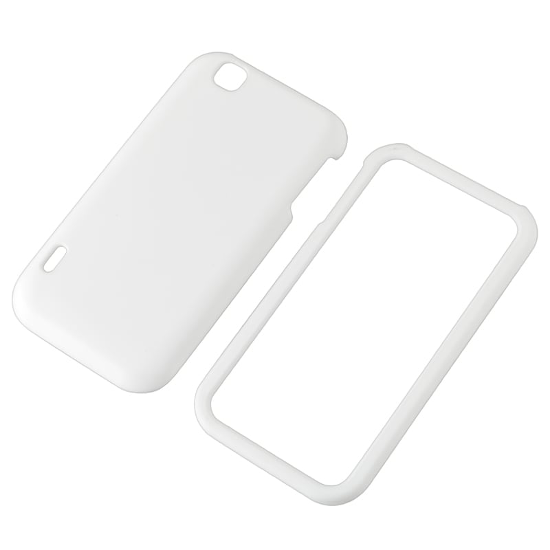 White Snap-on Rubber Coated Case for LG MyTouch