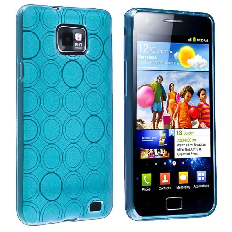 INSTEN Blue Circle TPU Rubber Skin Case Cover for Samsung Galaxy S II i9100
