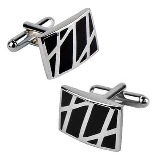 Zodaca Rhodium-plated Black/ Silver Enameled Formal Rectangle Cufflinks
