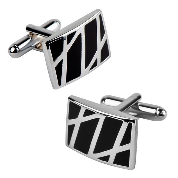 Zodaca Rhodium-plated Black/ Silver Enameled Formal Rectangle Cufflinks