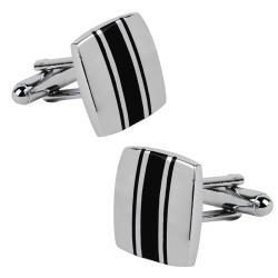 Zodaca Silver/ Black Square Cufflinks