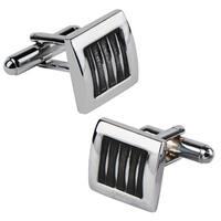 Zodaca Black/ Silver Square Cufflinks