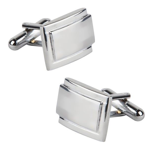 Zodaca Polished Silver Rectangle Cufflinks Version Two (Set of Two)