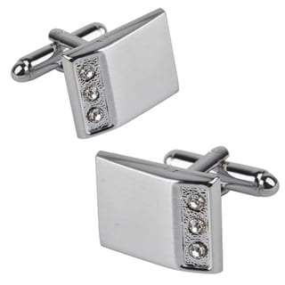 Zodaca Silver Rectangle with 3 Jewels Cufflinks