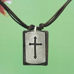 Handcrafted Silver Tone Pewter 'CutOut Cross' Dogtag Necklace & Earrings Set (India) - Thumbnail 1
