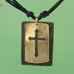 Handcrafted Gold Tone Pewter 'CutOut Cross' Dogtag Necklace & Earrings Set (India) - Thumbnail 1