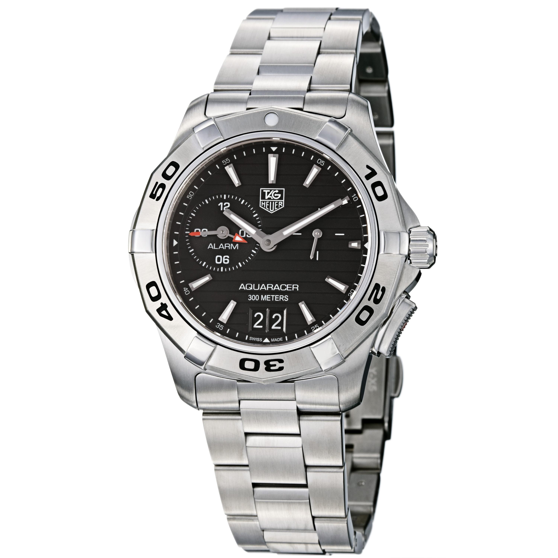 Tag Heuer Men's WAP111Z.BA0831 'Aquaracer' Black Dial Stainless Steel Alarm Watch