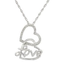 Unending Love Sterling Silver 1/8ct TDW Diamond Double Heart Necklace (I-J, I2-I3)