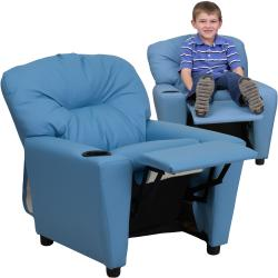 ... Flash Furniture Contemporary Light Blue Vinyl Kids Recliner With Cup  Holder ...