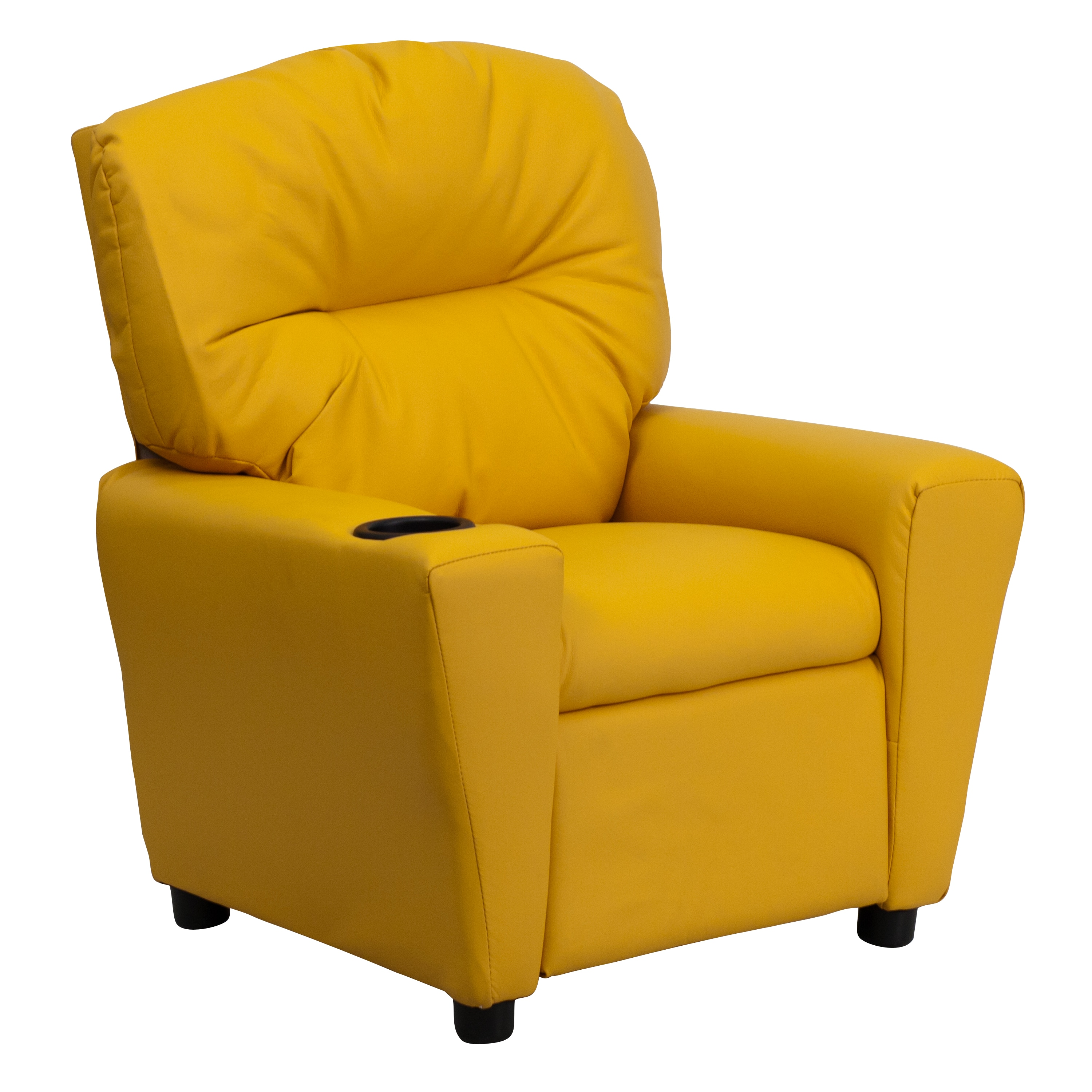 Flash Furniture Contemporary Yellow Vinyl Kids Recliner with Cup – Children Recliner Chairs