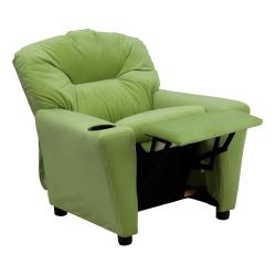 Flash Furniture Contemporary Avocado Microfiber Kids Recliner with Cup Holder - Thumbnail 1