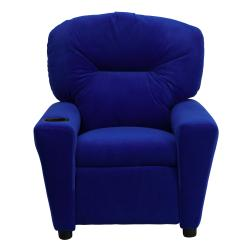 Contemporary Blue Microfiber Kids Recliner with Cup Holder - Thumbnail 2