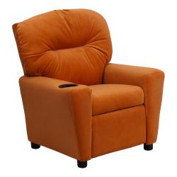 Contemporary Orange Microfiber Kids Recliner with Cup Holder
