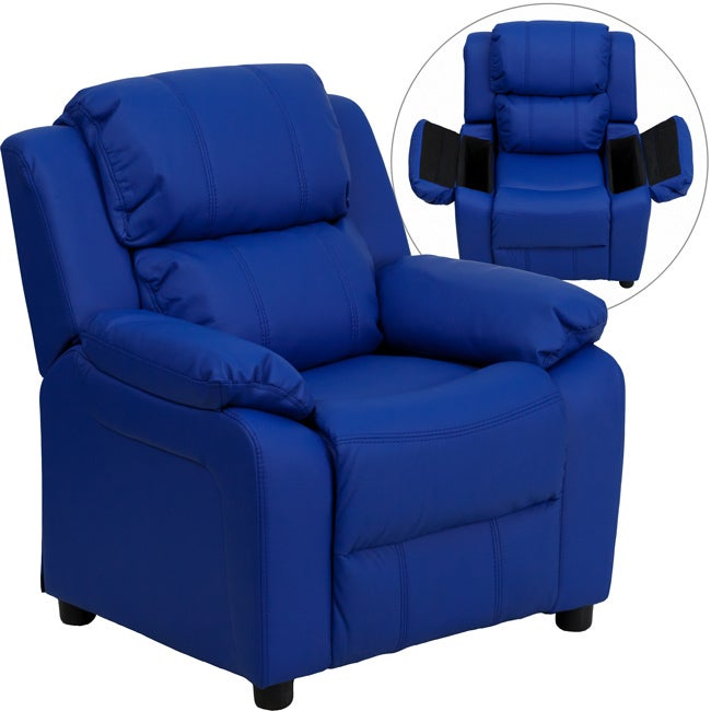 Deluxe Heavily Padded Contemporary Blue Vinyl Kids Recliner with Storage Arms  sc 1 st  Overstock.com & Deluxe Heavily Padded Contemporary Blue Vinyl Kids Recliner with ... islam-shia.org