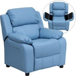 Deluxe Heavily Padded Contemporary Light Blue Vinyl Kids Recliner with Storage Arms  sc 1 st  Overstock.com : mini recliner chairs - islam-shia.org