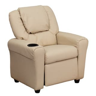 Contemporary Beige Vinyl Kids Recliner with Cup Holder and Headrest|https://ak1.ostkcdn.com/images/products/6702502/P14254565.jpg?impolicy=medium