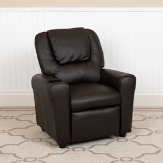 Contemporary Brown Vinyl Kids Recliner with Cup Holder and Headrest|https://ak1.ostkcdn.com/images/products/6702506/P14254568.jpg?impolicy=medium