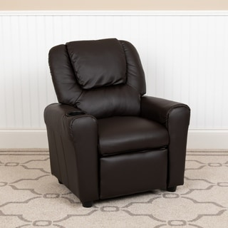 Lancaster Home Brown Vinyl/Wood Kidsu0027 Contemporary Recliner With Cup Holder  And Headrest