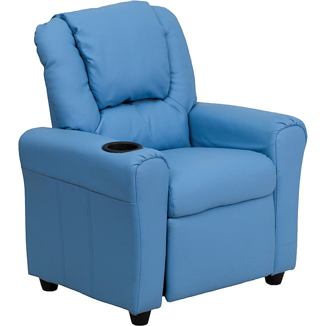 Contemporary Light Blue Vinyl Kids Recliner with Cup Holder and Headrest
