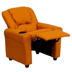 Contemporary Orange Vinyl Kids Recliner with Cup Holder and Headrest - Thumbnail 1