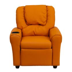 Contemporary Orange Vinyl Kids Recliner with Cup Holder and Headrest - Thumbnail 2