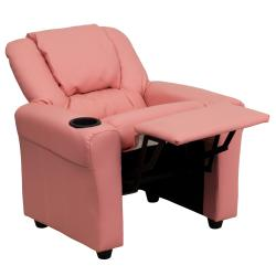 Contemporary Pink Vinyl Kids Recliner with Cup Holder and Headrest - Thumbnail 1