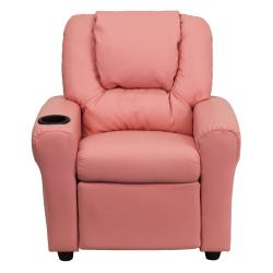 Contemporary Pink Vinyl Kids Recliner with Cup Holder and Headrest - Thumbnail 2