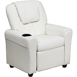 Contemporary White Vinyl Kids Recliner with Cup Holder and Headrest