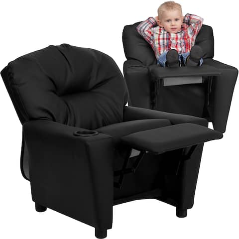 Contemporary Leather Kid's Recliner with Cup Holder