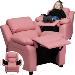Deluxe Heavily Padded Contemporary Pink Vinyl Kids Recliner with Storage Arms - Thumbnail 1