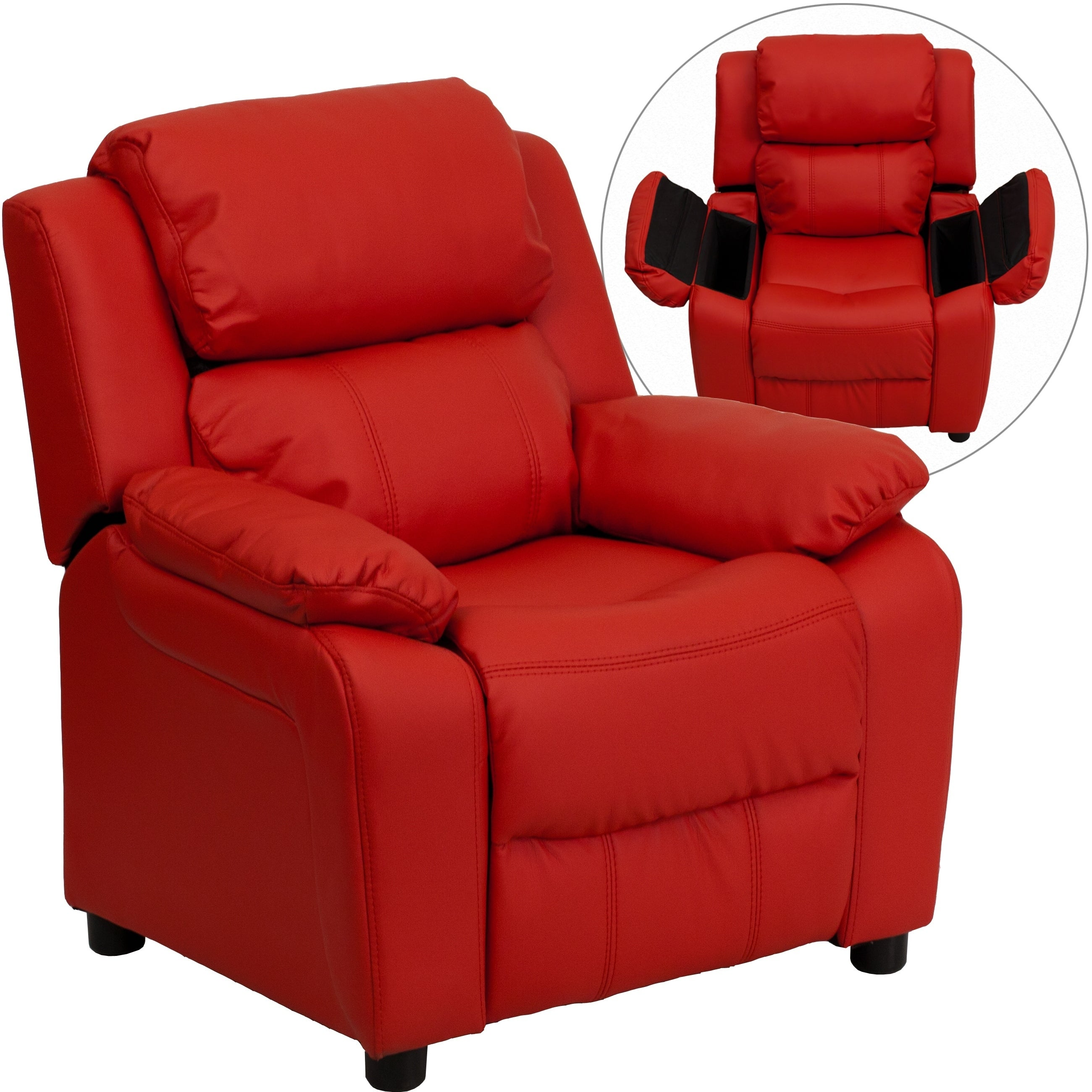 FLASH Furniture Deluxe Heavily Padded Contemporary Red Vi...