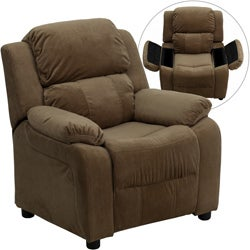 Deluxe Heavily Padded Contemporary Brown Microfiber Kids Recliner with Storage Arms  sc 1 st  Overstock.com : cheap toddler recliner chairs - islam-shia.org