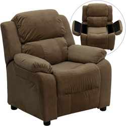 Deluxe Heavily Padded Contemporary Brown Microfiber Kids Recliner with Storage Arms  sc 1 st  Overstock.com & Kidsu0027 u0026 Toddler Chairs - Shop The Best Deals for Nov 2017 ... islam-shia.org