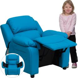 deluxe heavily padded contemporary turquoise vinyl kids recliner with storage arms free. Black Bedroom Furniture Sets. Home Design Ideas