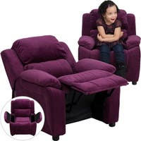 Deluxe Heavily Padded Contemporary Purple Microfiber Kids Recliner with Storage Arms